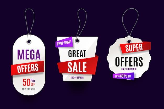 Collection D'étiquettes De Vente Suspendues Réalistes Vecteur gratuit