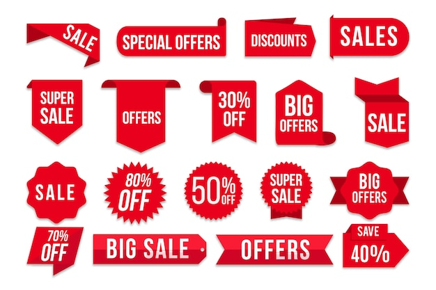 Collection D'étiquettes De Vente Vecteur Premium