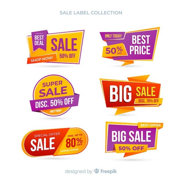 Collection d'étiquettes de vente Vecteur gratuit