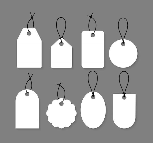 Collection D'étiquettes Vierges. Ensemble D'étiquettes De Prix. Vecteur Premium