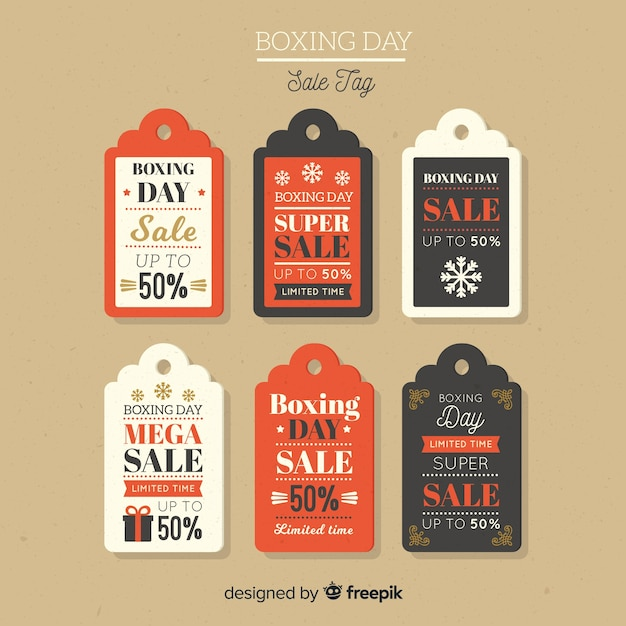 Collection d'étiquettes vintage boxing day sale Vecteur gratuit