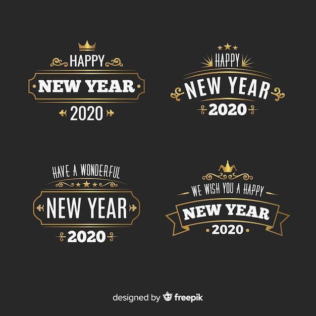 Collection d'étiquettes vintage pour le nouvel an 2020 Vecteur gratuit