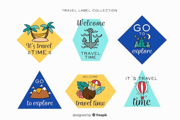 Collection d'étiquettes de voyage Vecteur gratuit
