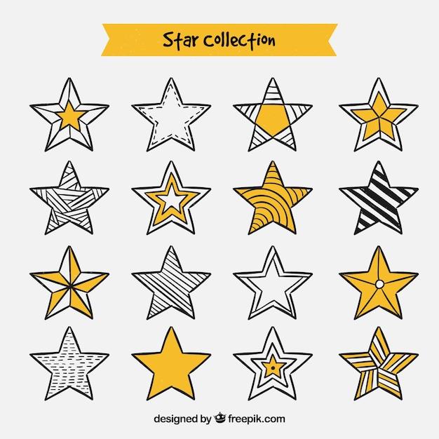 Collection D'étoile Dessinée Avec Des Dessins Différents ...
