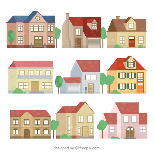 Collection des façades de belles maisons de design plat ...