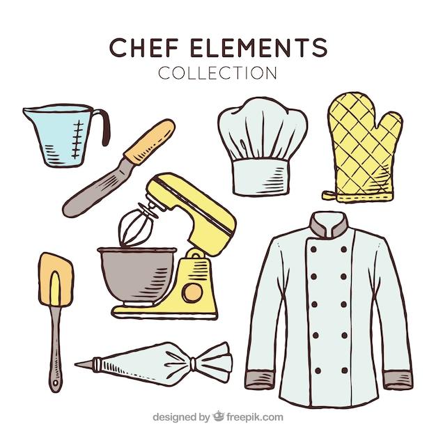 Collection fantastique d'éléments de chef dessinés à la main Vecteur gratuit