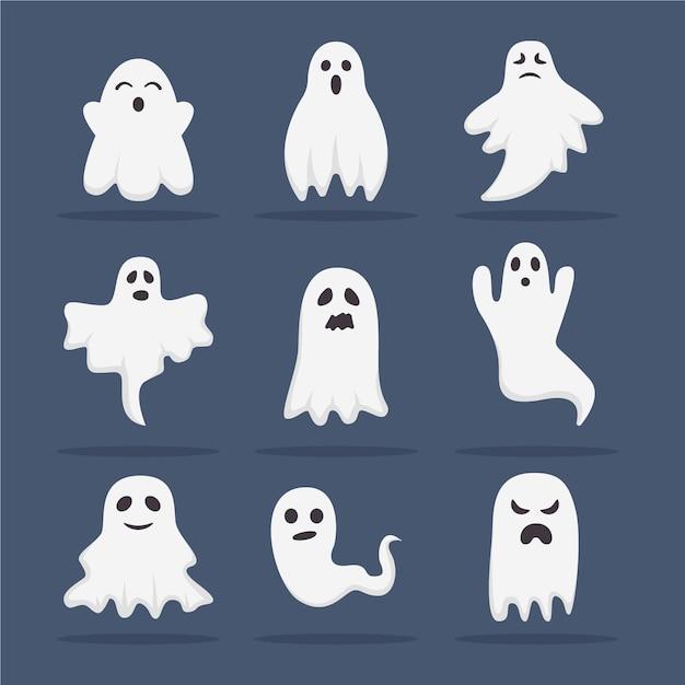 Collection De Fantômes D'halloween Design Plat Vecteur gratuit