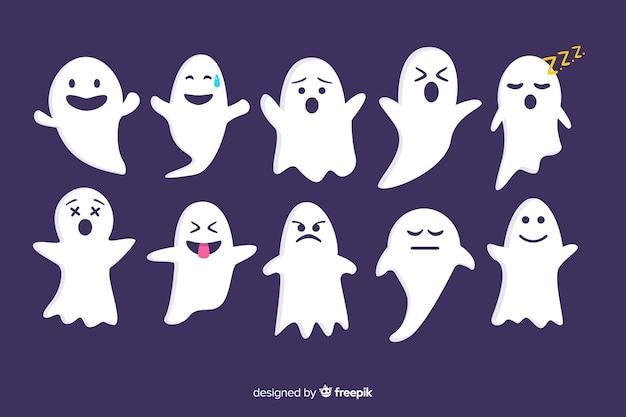 Collection de fantômes halloween plat sur fond violet Vecteur gratuit