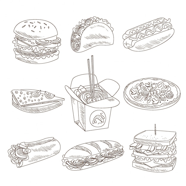 Collection De Fast-food Doodle Vecteur Premium