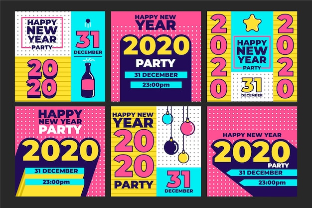 Collection De La Fête Du Nouvel An 2020 Instagram Post Vecteur gratuit