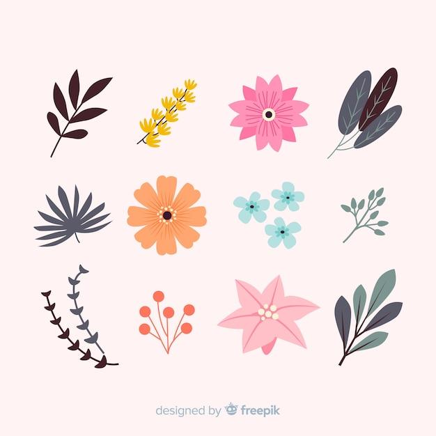 Collection de feuilles et de fleurs Vecteur gratuit