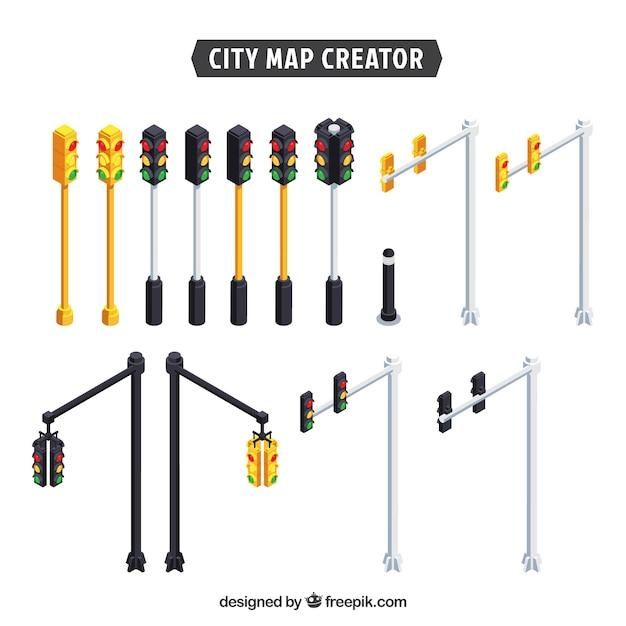 Collection de feux de circulation pour créer une ville Vecteur gratuit