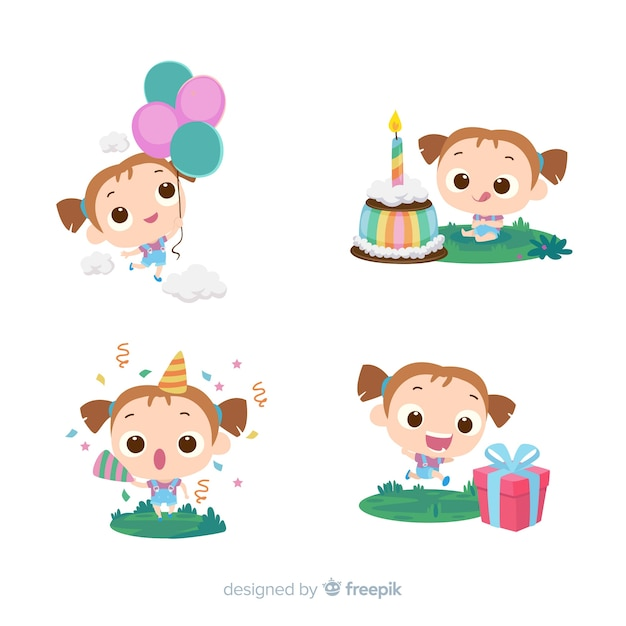 Collection de fille anniversaire dessinés à la main Vecteur gratuit
