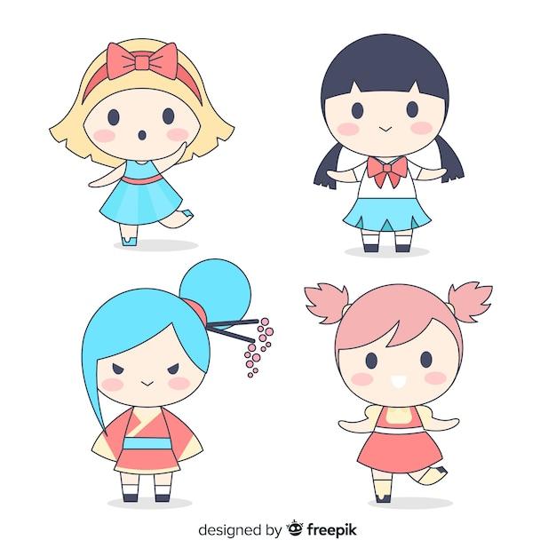 Collection de filles kawaii dessinées à la main Vecteur gratuit