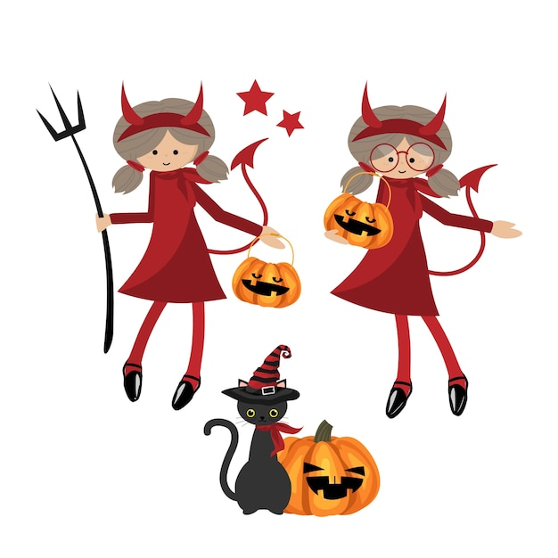 Collection de fillettes d'halloween. Vecteur Premium