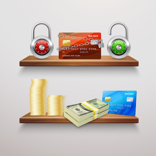 Collection de finance réaliste Vecteur gratuit