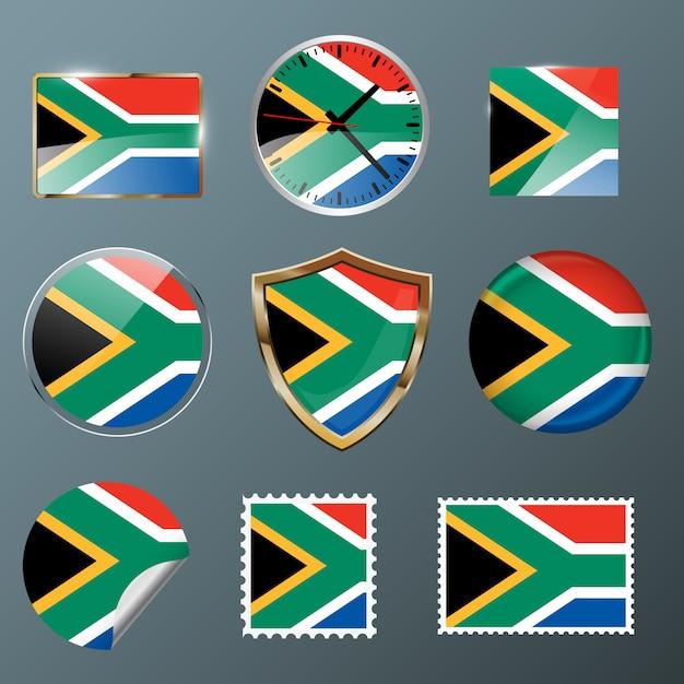 Collection flag afrique du sud Vecteur Premium