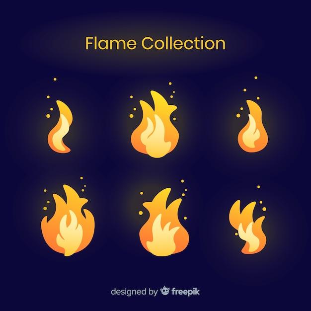 Collection de flammes dessinées à la main Vecteur gratuit