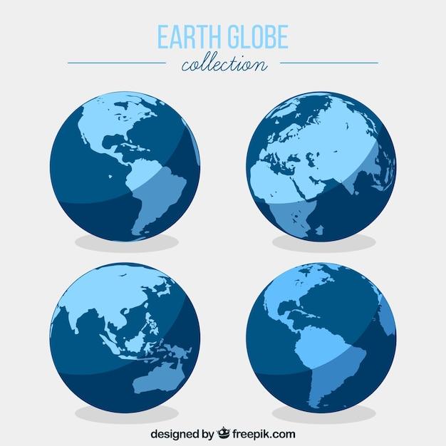 Collection flat earth globe Vecteur gratuit