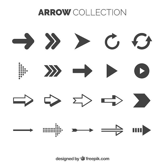 Collection de flèches de base avec style élégant Vecteur gratuit