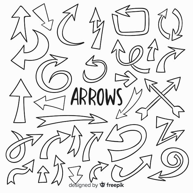 Collection de flèches décoratives dessinées à la main Vecteur gratuit