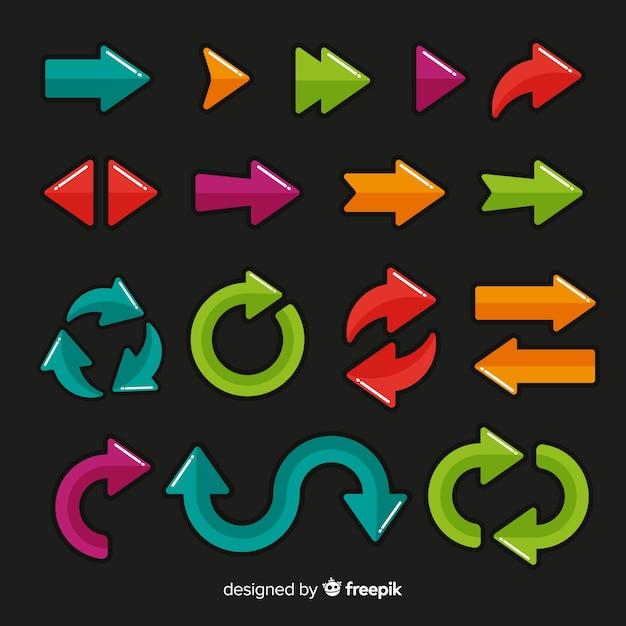 Collection de flèches de différentes couleurs Vecteur gratuit