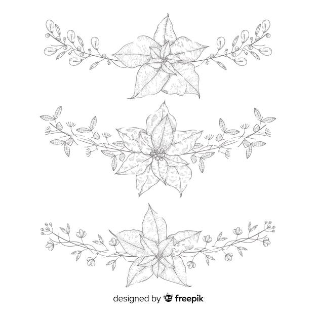 Collection de fleurs et couronnes de noël dessinées à la main Vecteur gratuit
