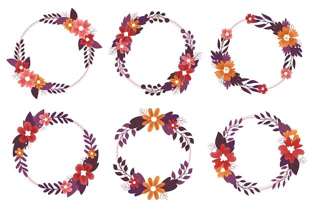 Collection De Fleurs Et De Feuilles D'automne Vecteur gratuit