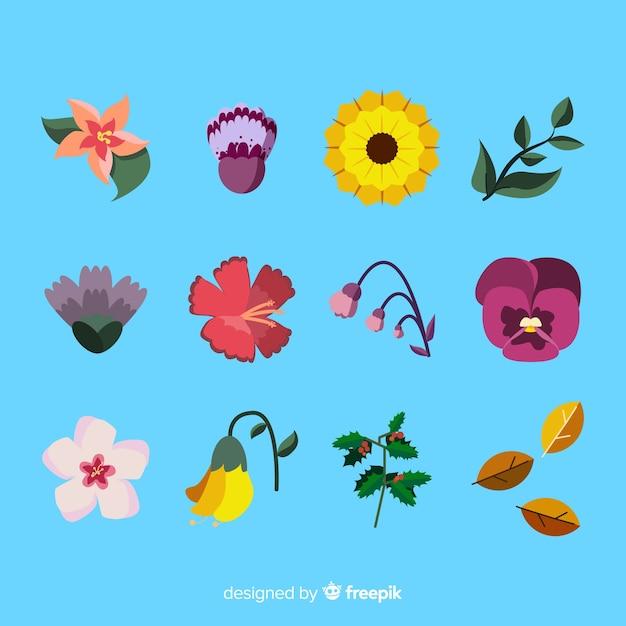 Collection de fleurs et feuilles dessinées à la main Vecteur gratuit