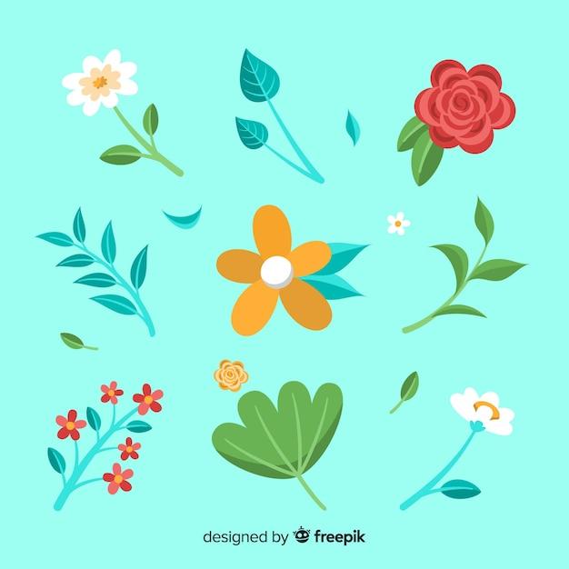 Collection de fleurs et feuilles plates Vecteur gratuit