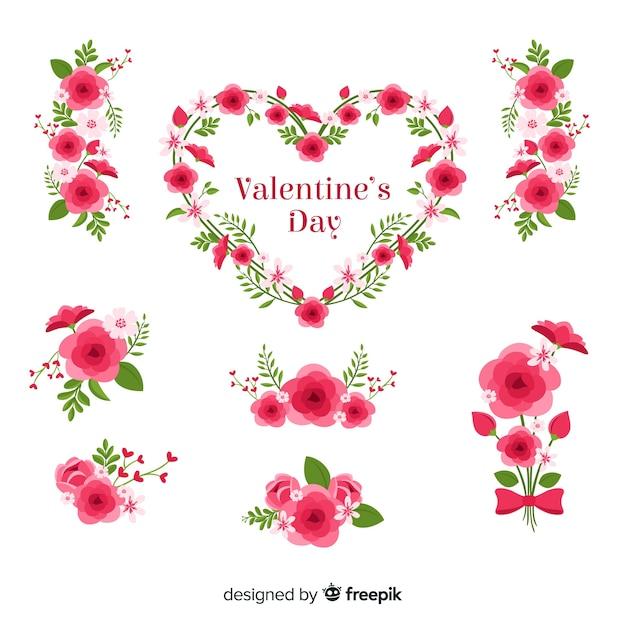 Collection de fleurs pour la saint valentin Vecteur gratuit