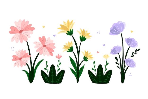 Collection De Fleurs De Printemps Colorées Dessinées à La Main Vecteur gratuit