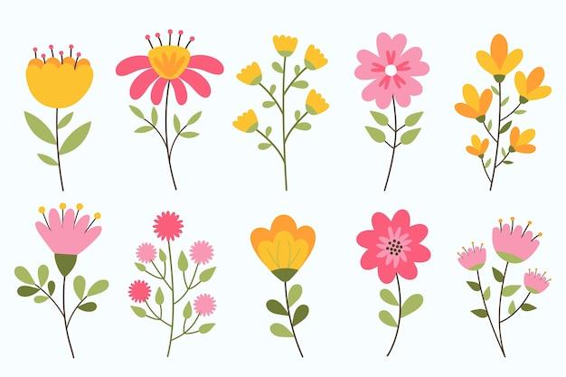 Collection De Fleurs De Printemps Dessinés à La Main, Isolé Sur Fond Blanc Vecteur Premium