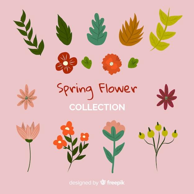 Collection de fleurs de printemps dessinés à la main Vecteur gratuit
