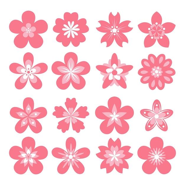 Collection De Fleurs De Sakura Rose Design Plat Vecteur Premium