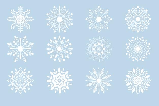 Collection de flocons de neige de noël blanc Vecteur Premium