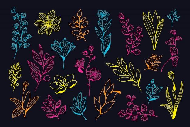 Collection florale de belle néon dessinés à la main Vecteur Premium