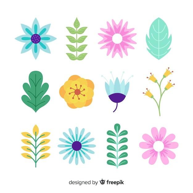 Collection florale plate Vecteur gratuit