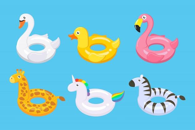 Collection de flotteurs colorés ensemble de jouets enfants mignons Vecteur Premium