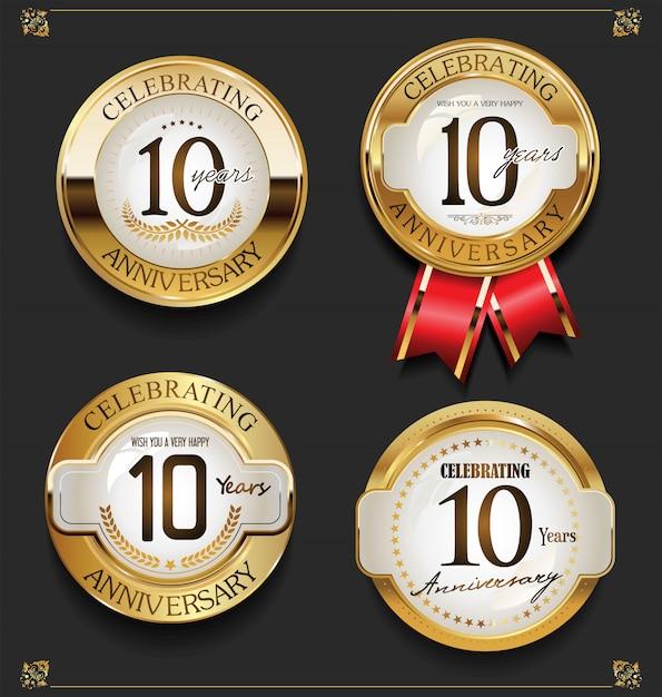 Collection De Fond D'anniversaire D'or élégant Vecteur Premium