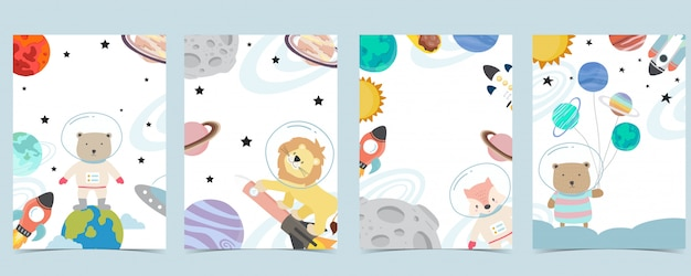 Collection De Fond D'espace Sertie D'astronaute, Planète, Lune, étoile, Fusée, Animal Illustration Modifiable Pour Site Web, Invitation, Carte Postale Et Autocollant Vecteur Premium
