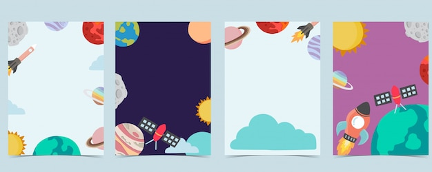 Collection De Fond D'espace Sertie D'astronaute, Planète, Lune, étoile, Fusée.illustration Modifiable Pour Site Web, Invitation, Carte Postale Et Autocollant Vecteur Premium