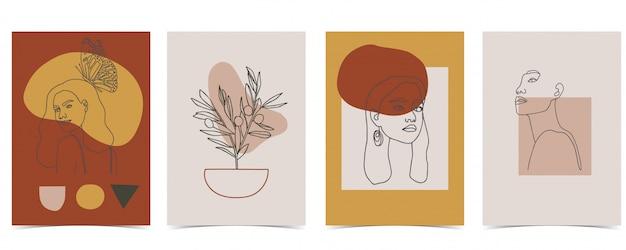 Collection De Fond De Femme Sertie De Couleur. Vecteur Premium