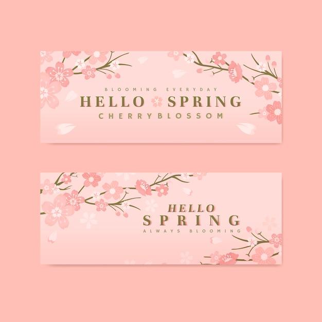 Collection de fond de fleurs de cerisier Vecteur gratuit