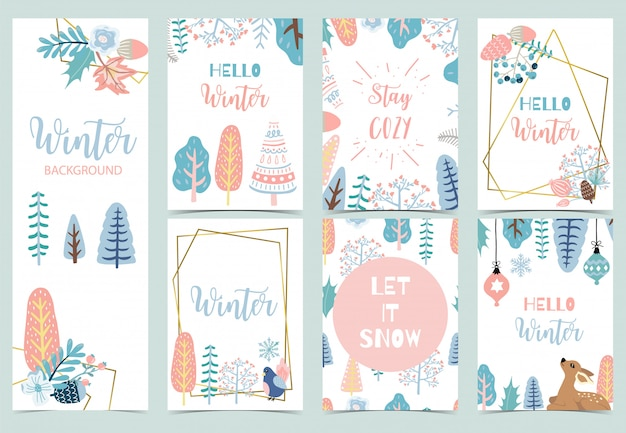 Collection De Fond D'hiver Sertie De Rennes, Oiseaux, Fleurs, Feuilles. Vecteur Premium