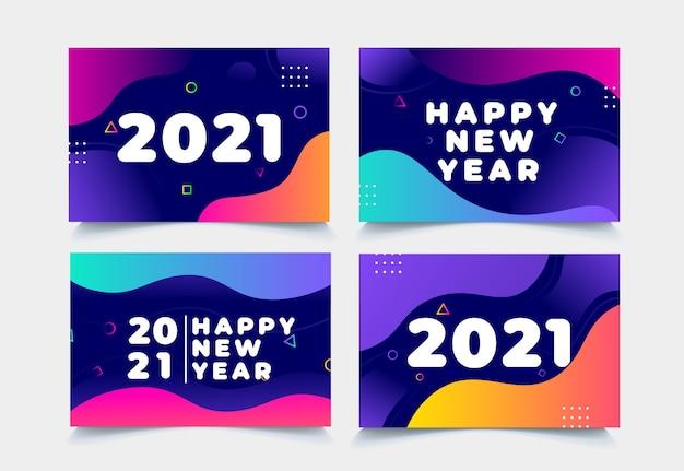 Collection De Fond Nouvel An 2021 Vecteur Premium