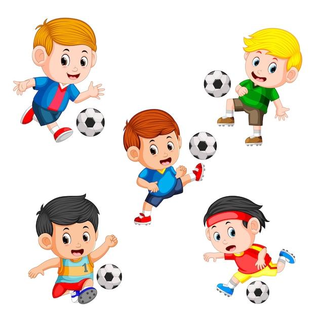 Collection De Footballeur Joueur Vecteur Premium