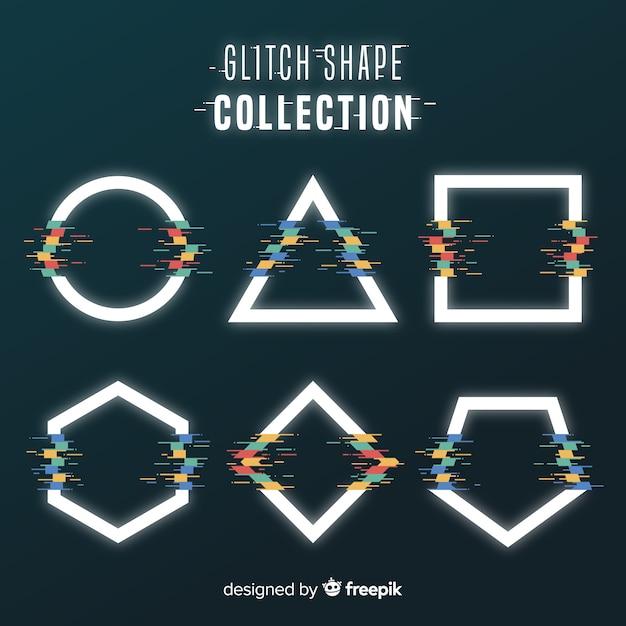 Collection de formes géométriques glitch Vecteur gratuit