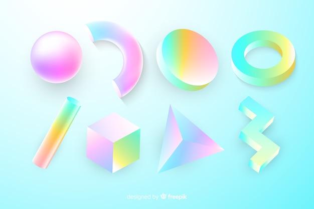 Collection de formes géométriques tridimensionnelles Vecteur gratuit