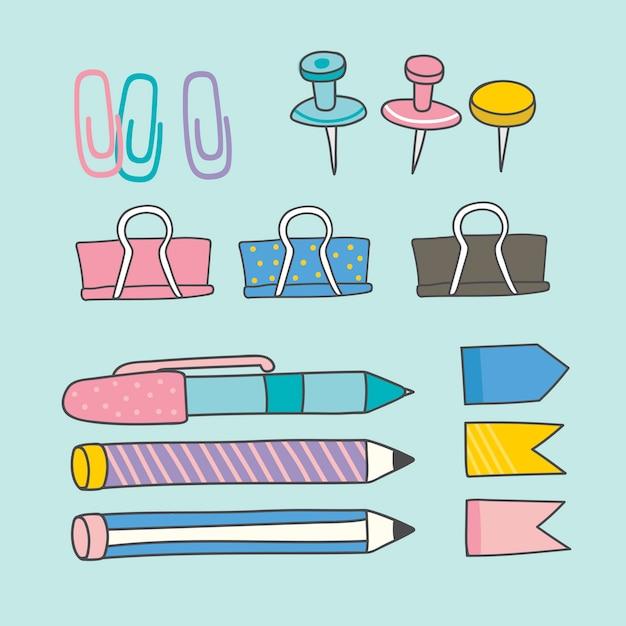 Collection De Fournitures De Papeterie Colorée Vecteur gratuit